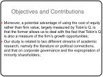 objectives and contributions1