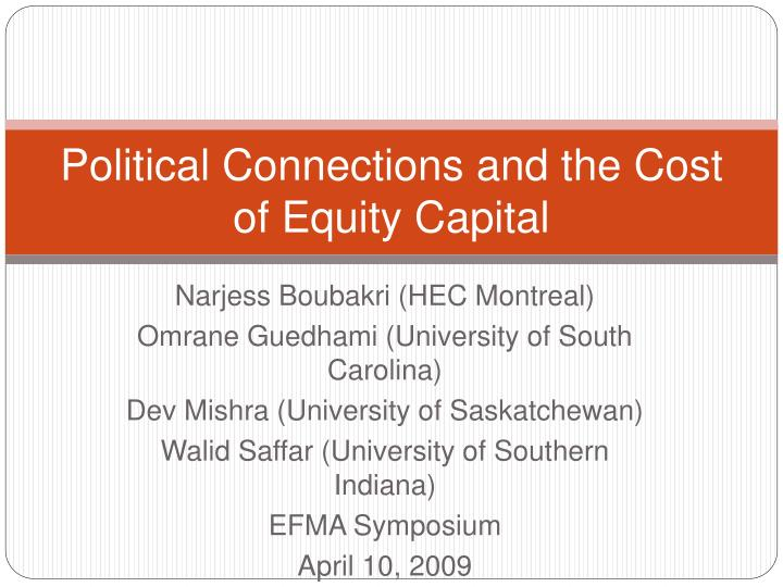 political connections and the cost of equity capital n.