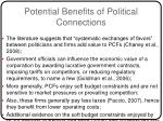 potential benefits of political connections