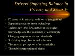 drivers opposing balance in privacy and security