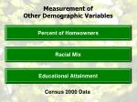measurement of other demographic variables