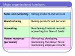 major organisational functions