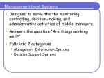management level systems