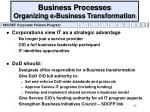 business processes organizing e business transformation