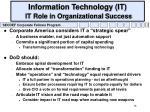 information technology it it role in organizational success