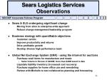 sears logistics services observations