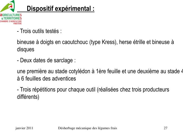 Dispositif expérimental :