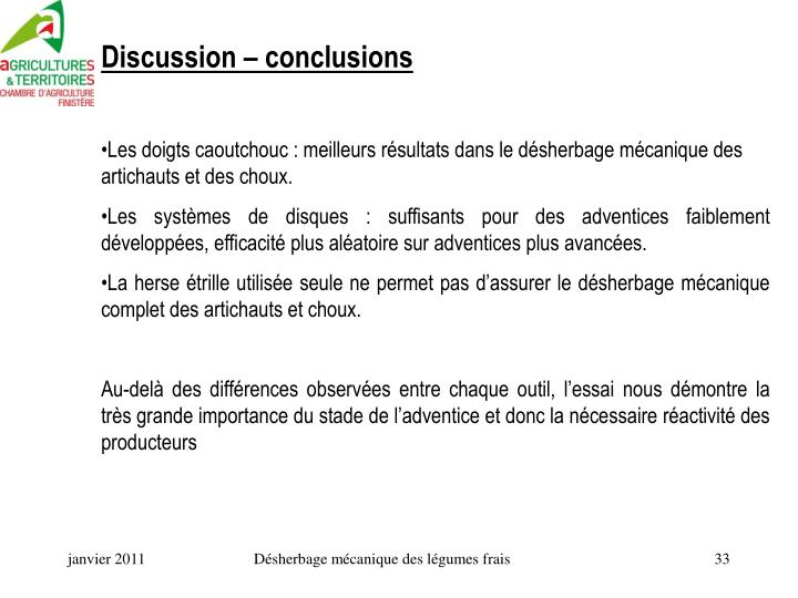 Discussion – conclusions