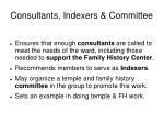 consultants indexers committee