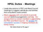 hpgl duties meetings