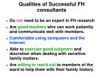 qualities of successful fh consultants