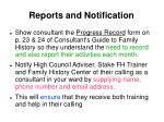 reports and notification