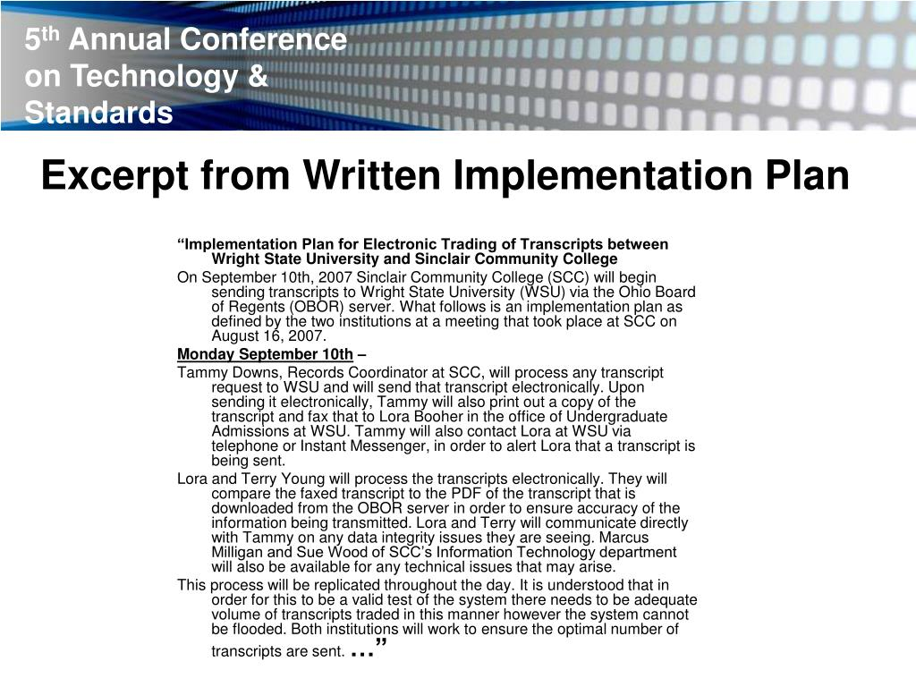 PPT - Exchange of Electronic Transcripts via Ohio Board of
