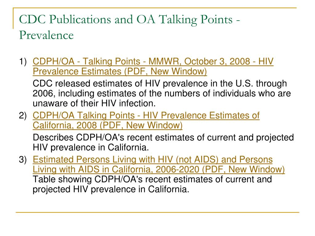 CDC Publications and OA Talking Points - Prevalence