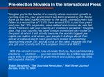pre election slovakia in the international press