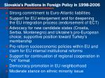 slovakia s positions in foreign policy in 1998 2006