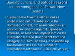 specific cultural and political reasons for the emergence of taiwan new cinema