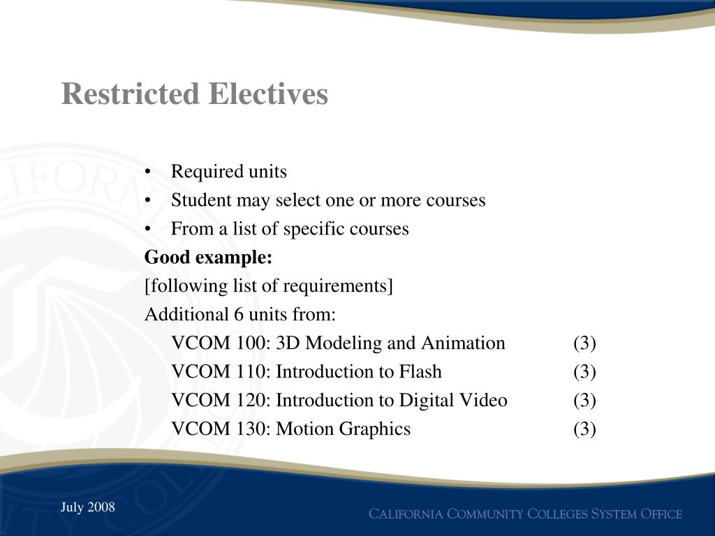 Restricted Electives