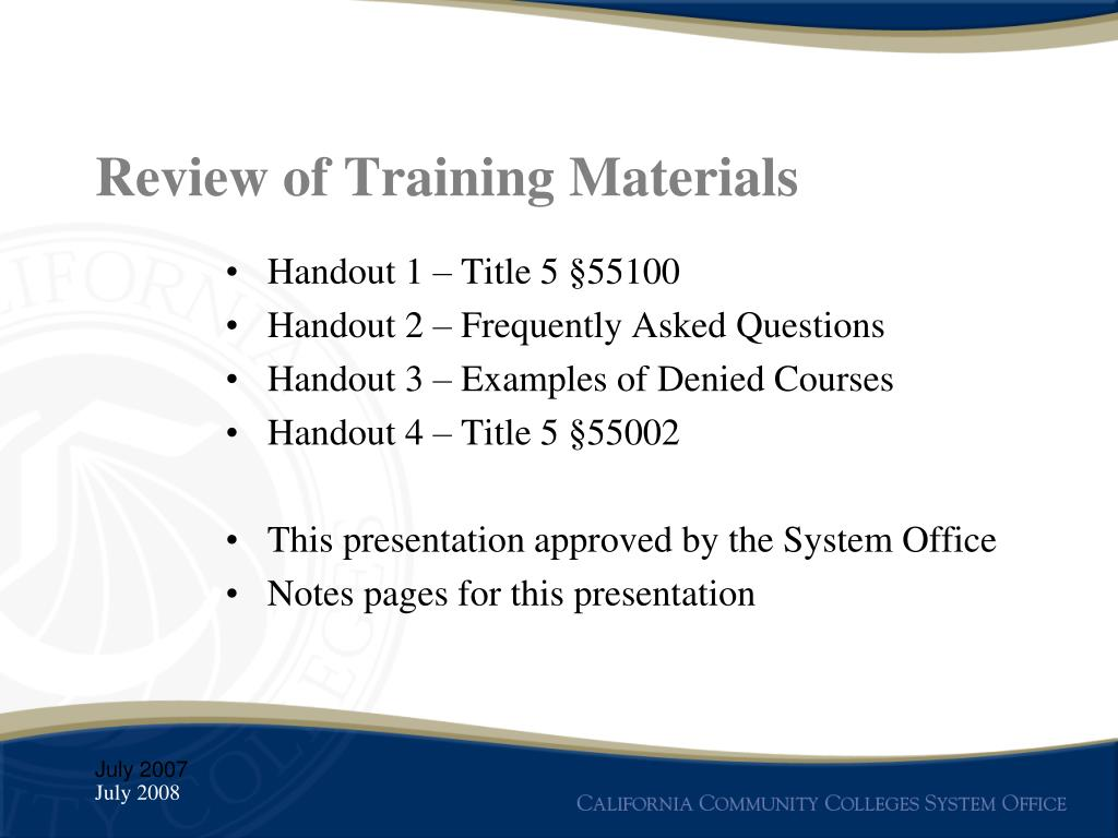 Review of Training Materials
