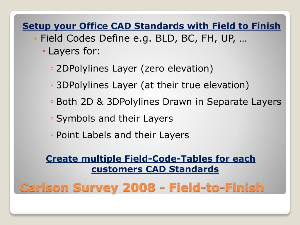 Setup your Office CAD Standards with Field to Finish