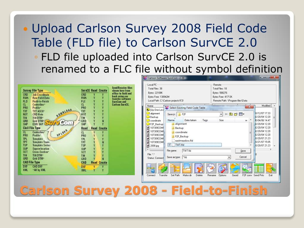 Upload Carlson Survey 2008 Field Code Table (FLD file) to Carlson SurvCE 2.0