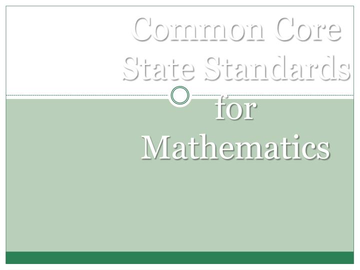 common core state standards for mathematics n.