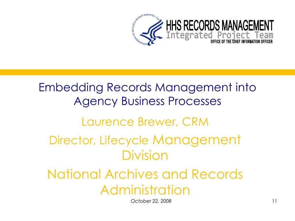 Embedding Records Management into Agency Business Processes