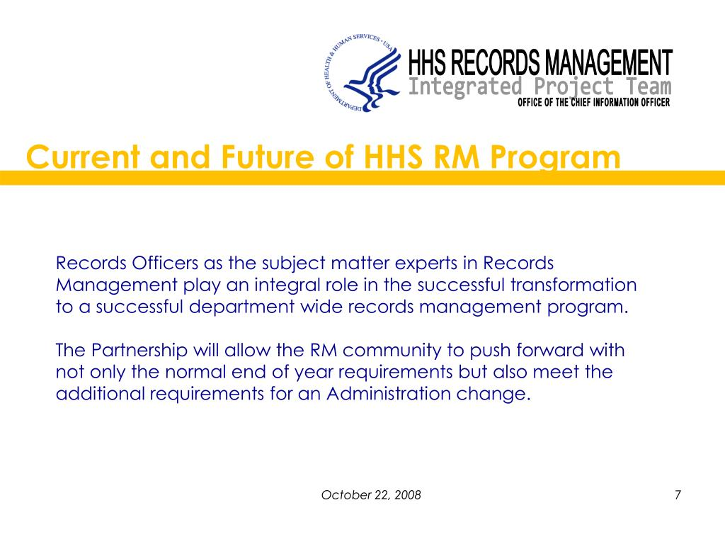 Current and Future of HHS RM Program
