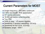 current parameters for most