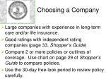 choosing a company