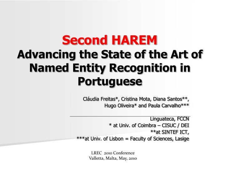 second harem advancing the state of the art of named entity recognition in portuguese n.