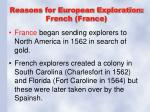 reasons for european exploration french france