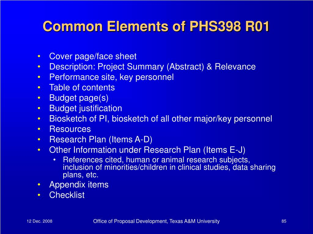 Common Elements of PHS398 R01