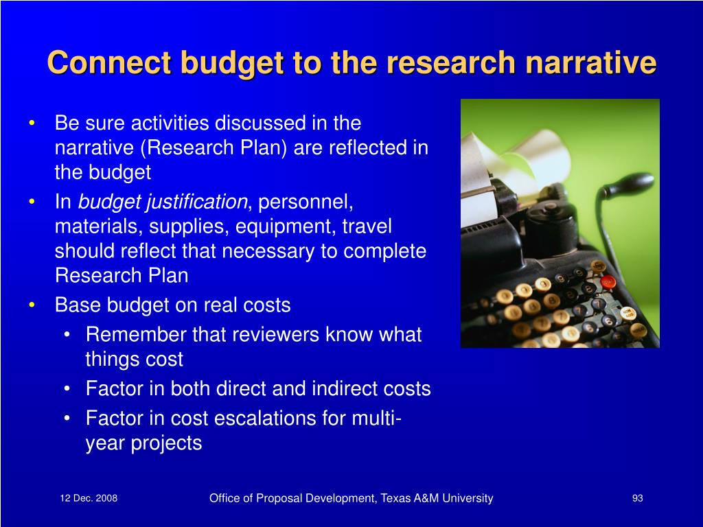 Connect budget to the research narrative