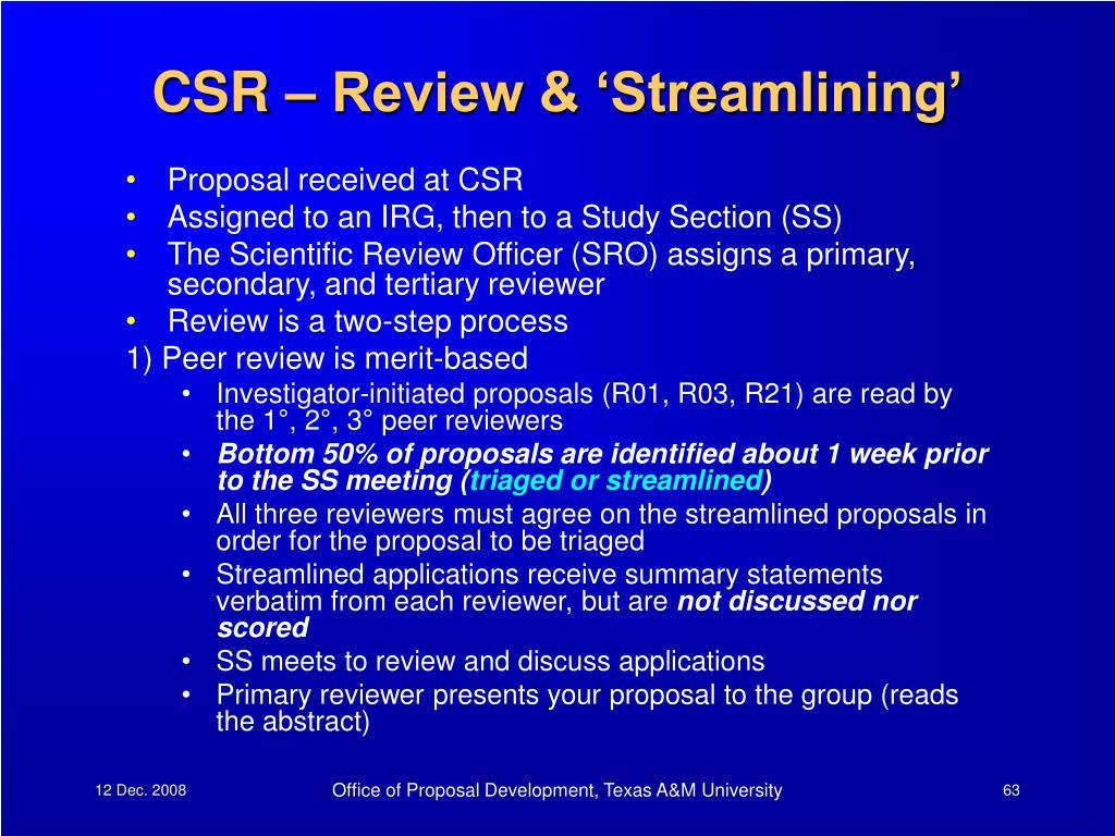 CSR – Review & 'Streamlining'