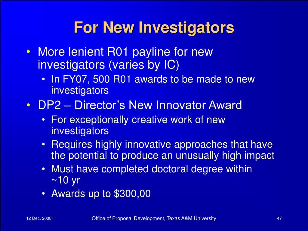 For New Investigators