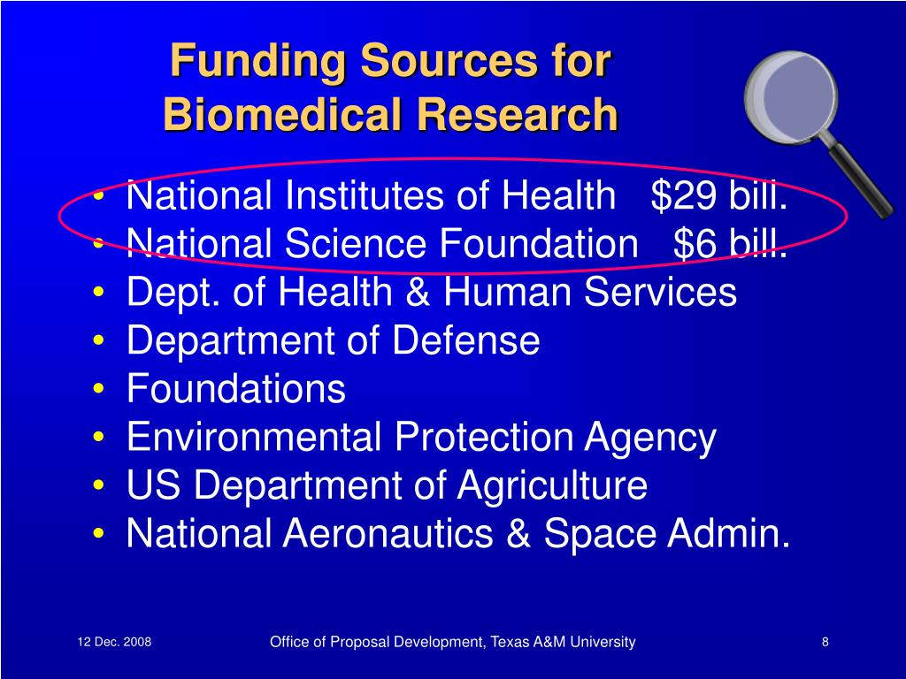 Funding Sources for Biomedical Research