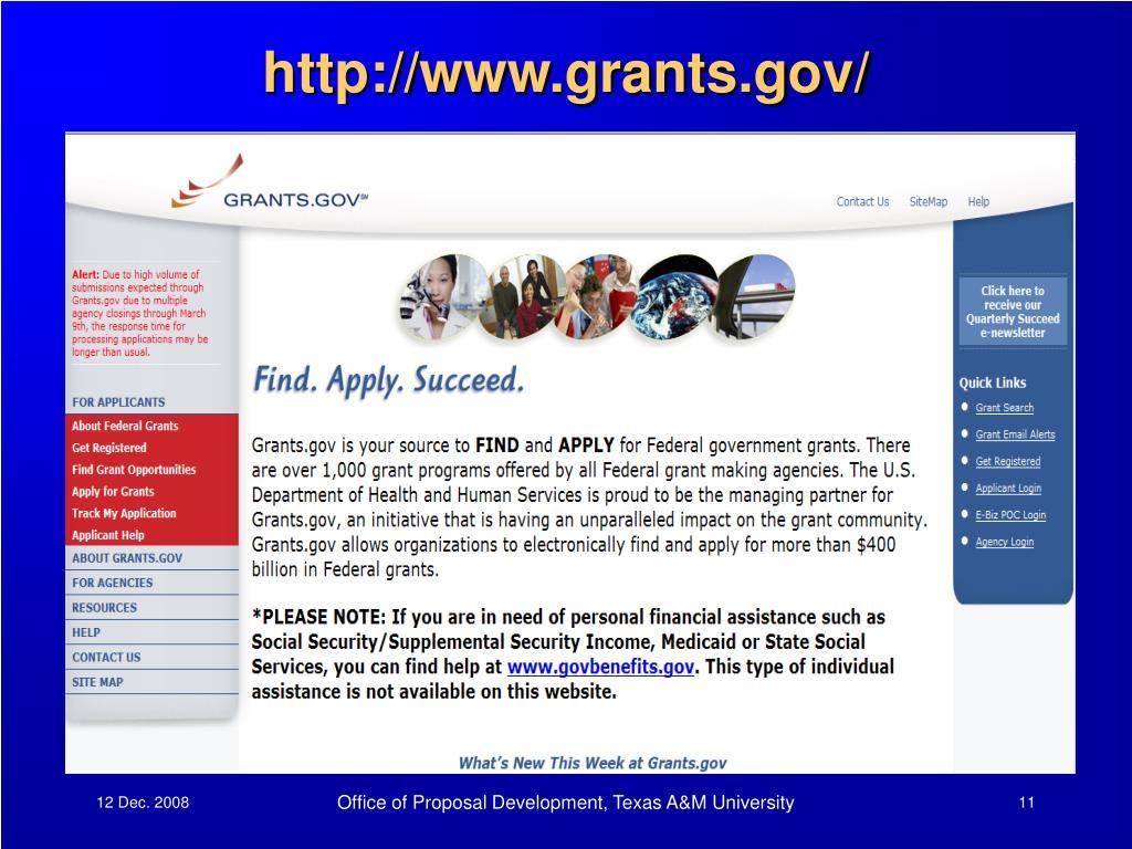 http://www.grants.gov/
