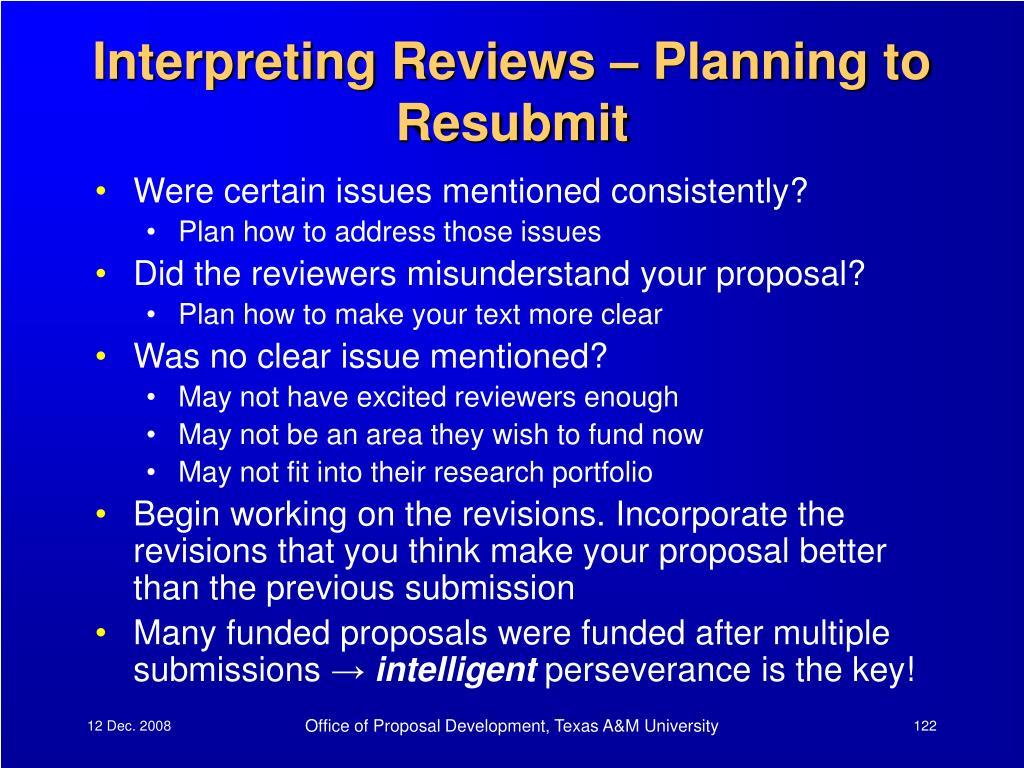 Interpreting Reviews – Planning to Resubmit