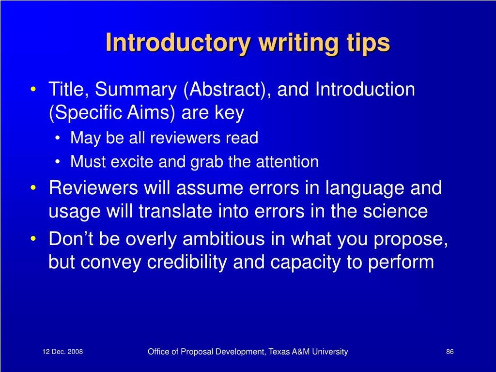 Introductory writing tips