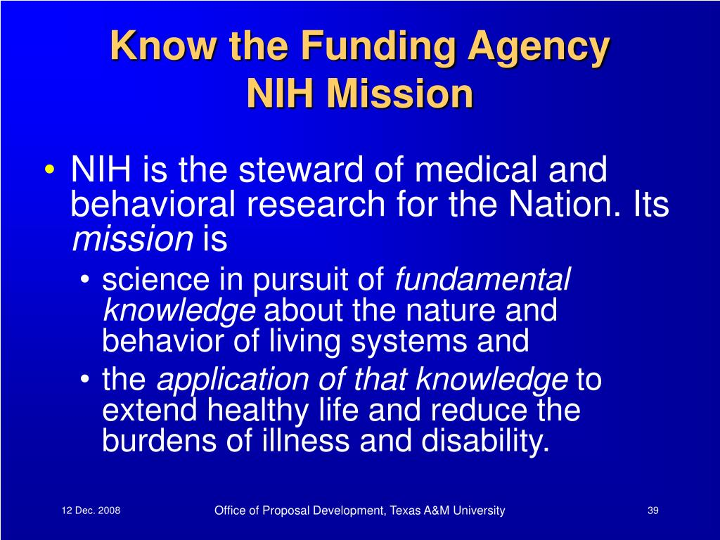 Know the Funding Agency