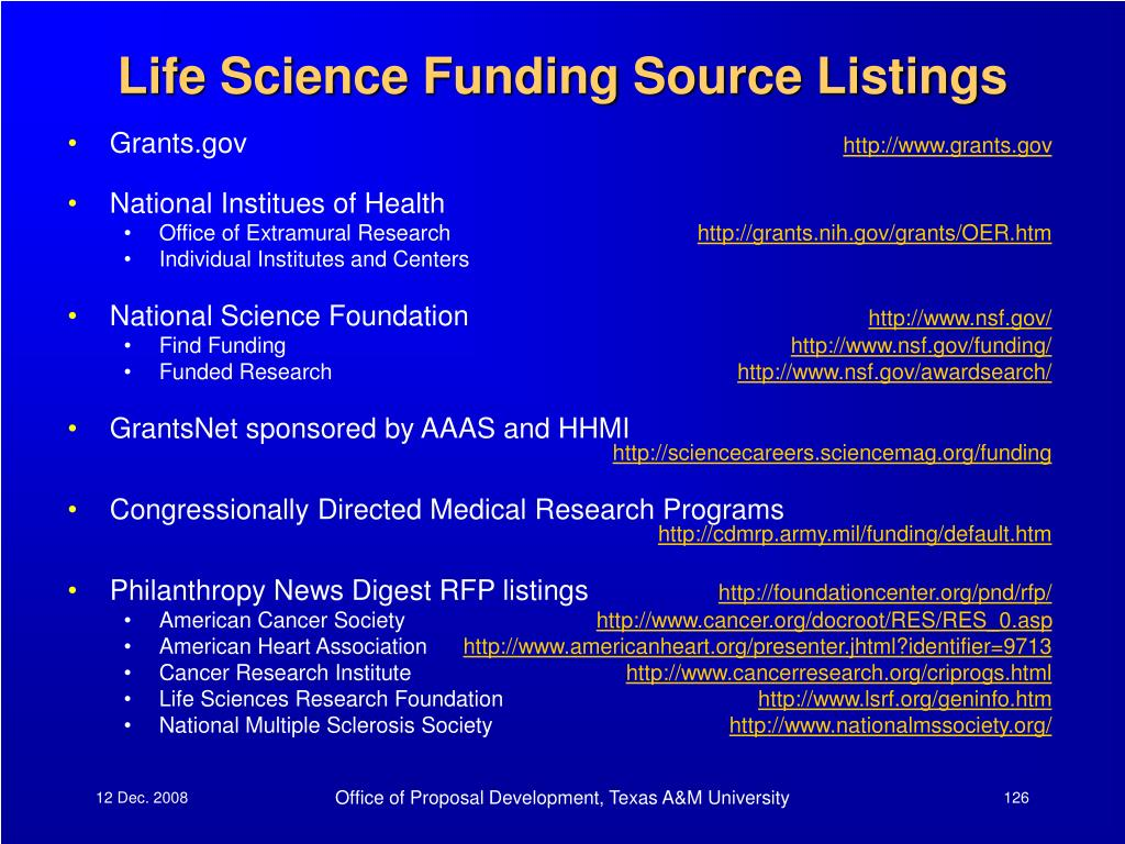 Life Science Funding Source Listings