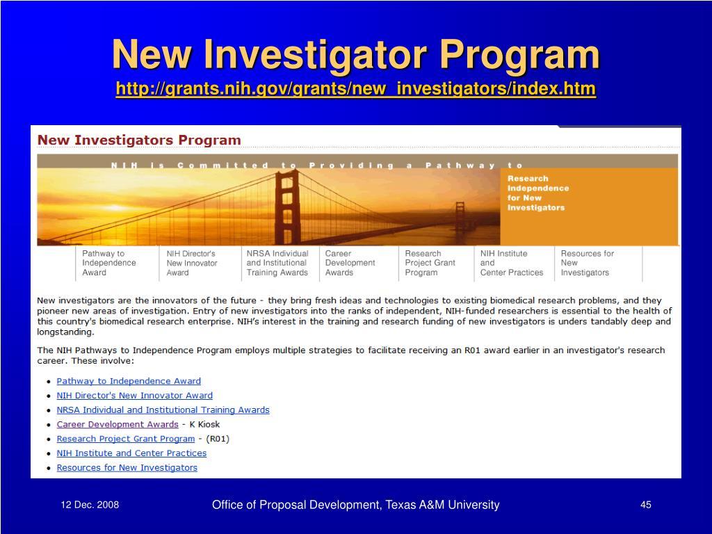 New Investigator Program