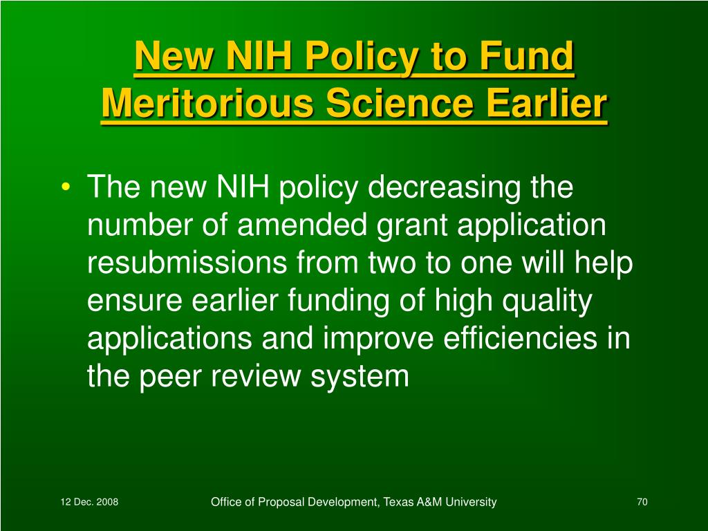 New NIH Policy to Fund Meritorious Science Earlier