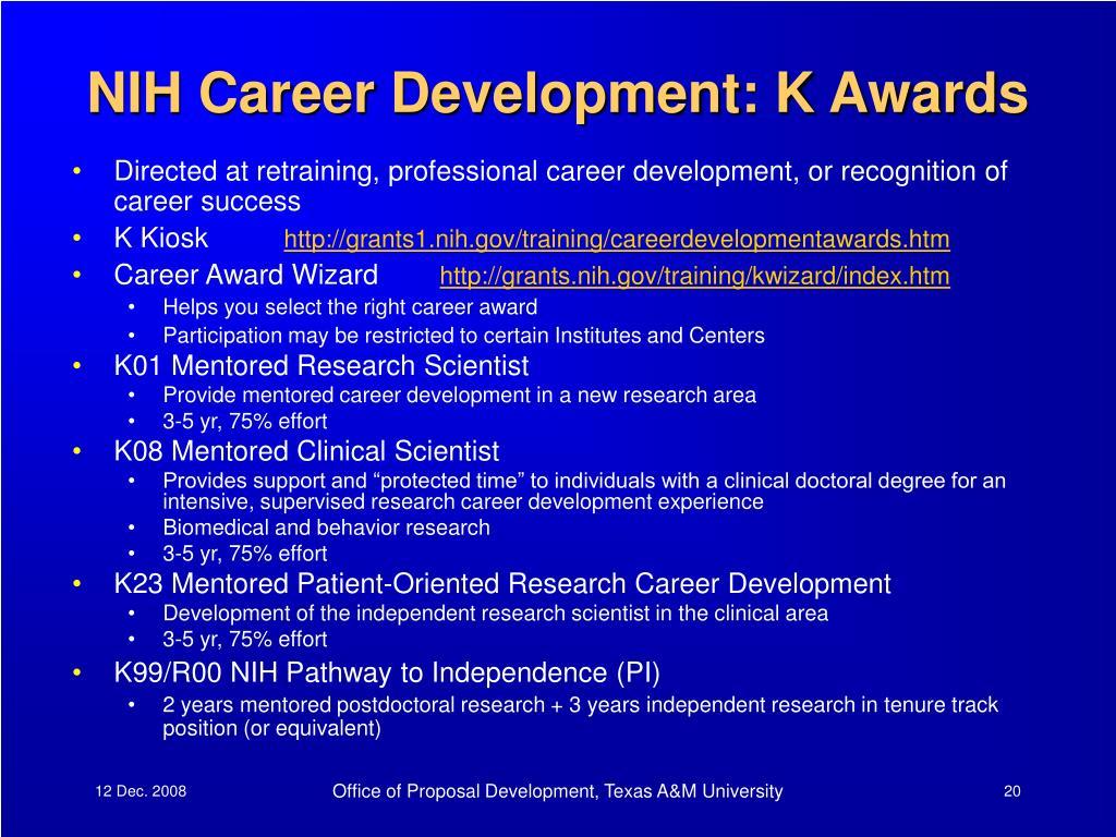 NIH Career Development: K Awards