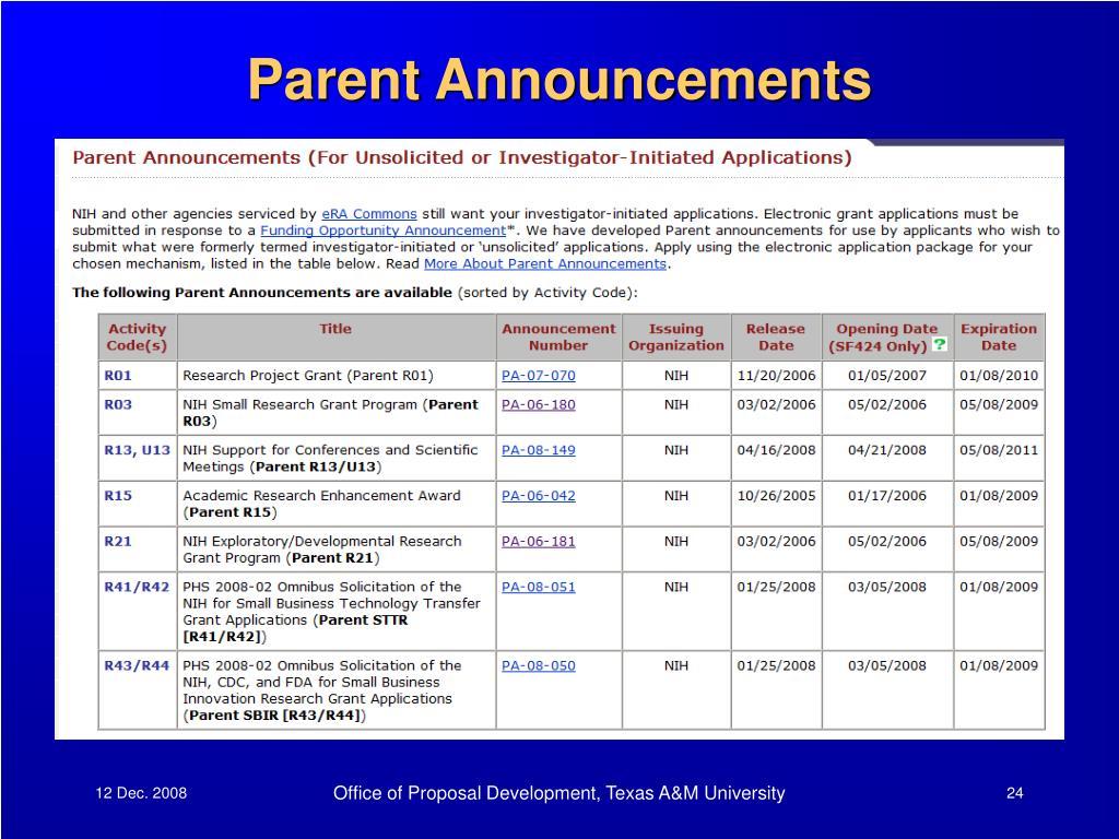 Parent Announcements