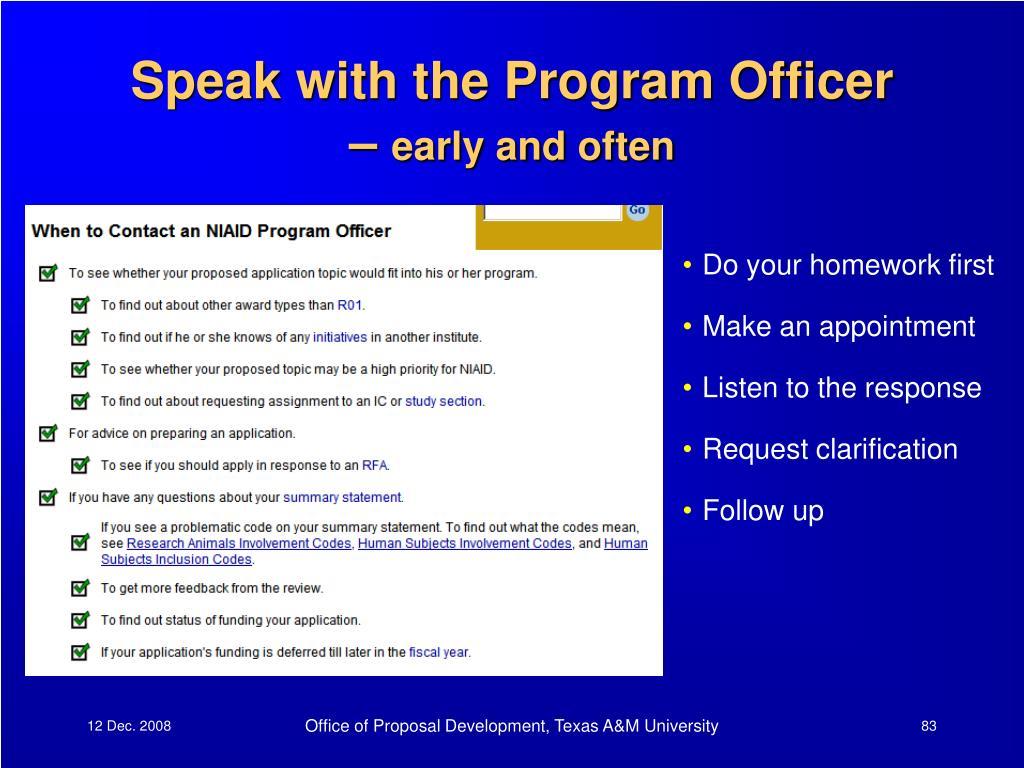Speak with the Program Officer