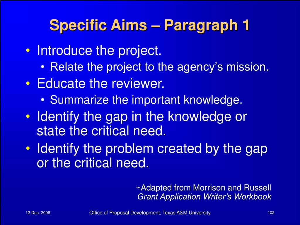 Specific Aims – Paragraph 1