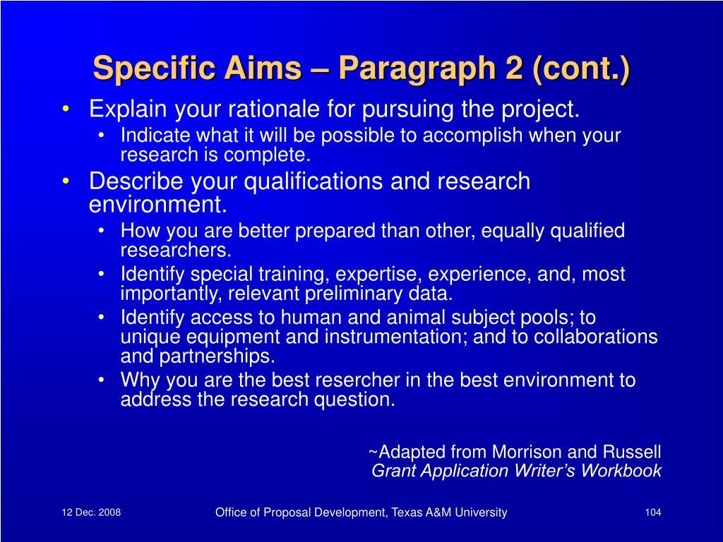 Specific Aims – Paragraph 2 (cont.)