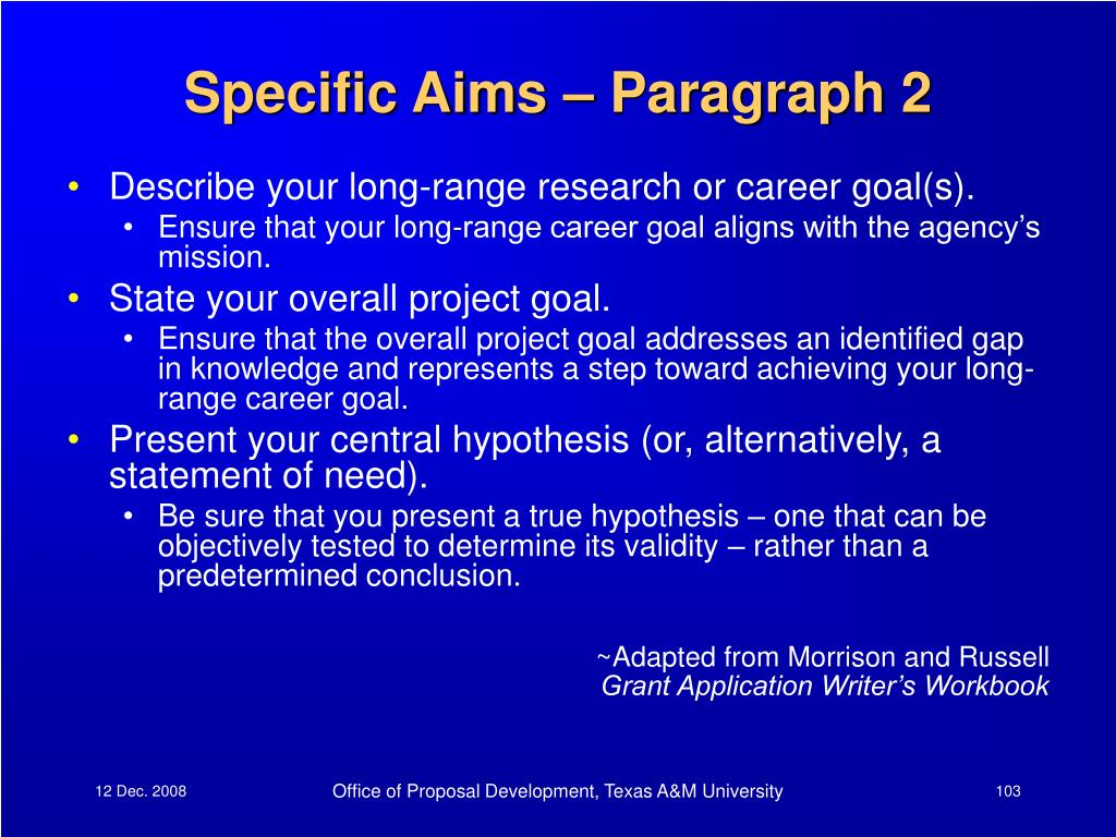 Specific Aims – Paragraph 2